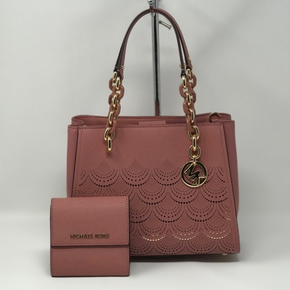 770ee3944cb4 Michael Kors Sofia Rose Tote + Carryall Wallet